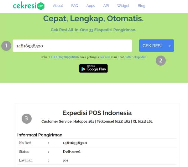 Cara Cek Resi Pos Express dan Kilat Khusus Online 2020 - Cekresi.com
