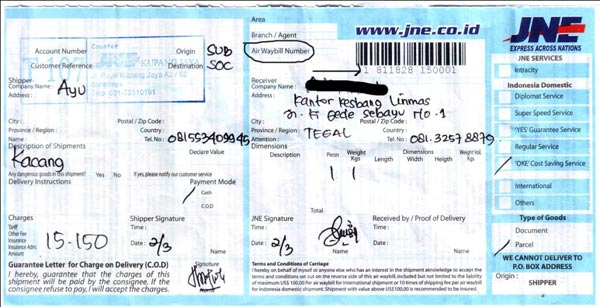 Contoh Resi Airwaybill Pengiriman Jne Tiki Pos Wahana